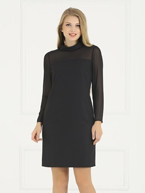 Faik Sönmez Degaje Yaka Şifon Elbise Siyah